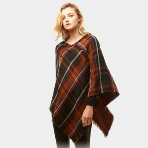 Green Plaid Poncho Patterned Throwover Cape Shawl